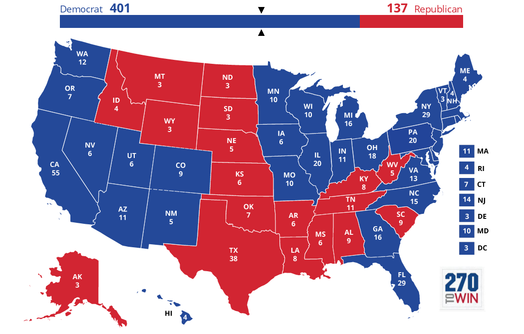 Optimistic Electoral Maps For Clinton HuffPost - Us map of votes for hillary clinton