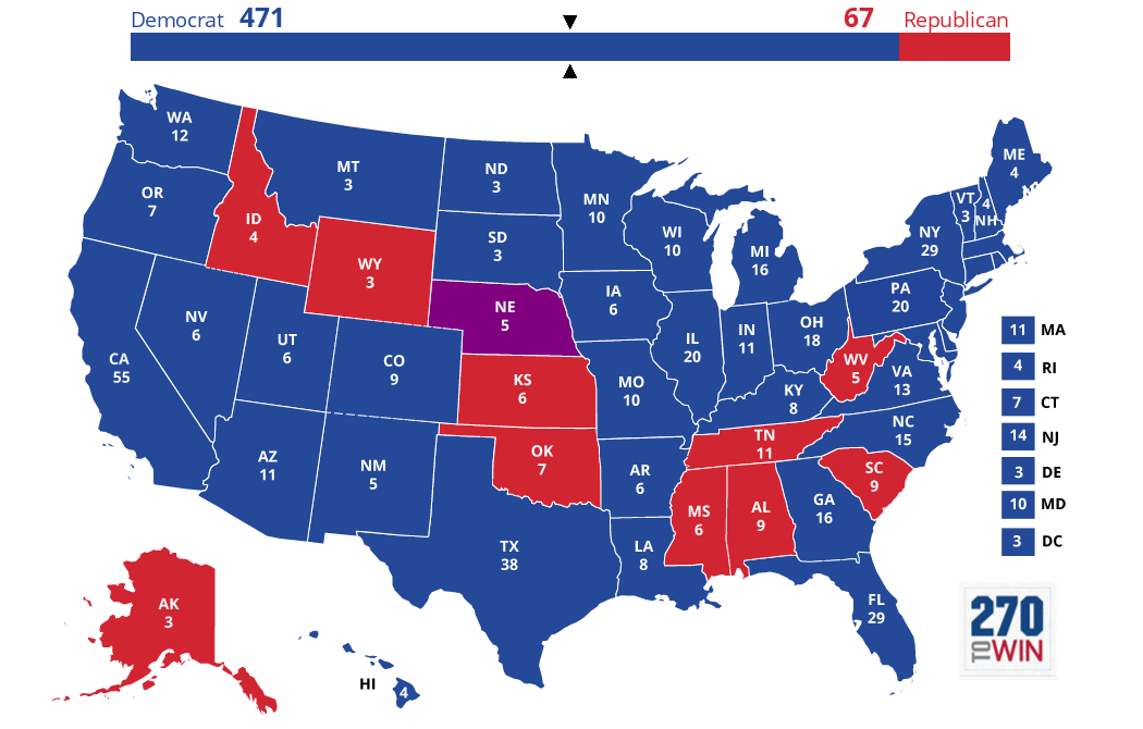 Optimistic Electoral Maps For Clinton HuffPost - Map on how the us voted by individual vote