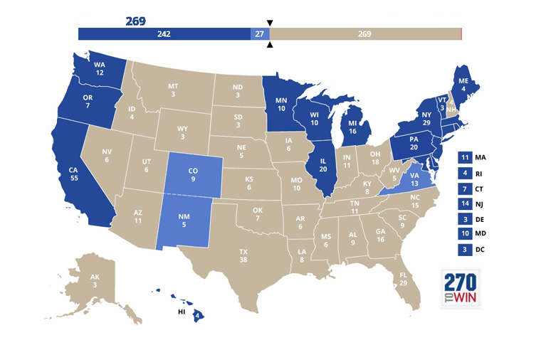 it doesnt have to be a florida or an ohio new hampshire or iowa would be enough heres how this new map of democratic states looks map courtesy of