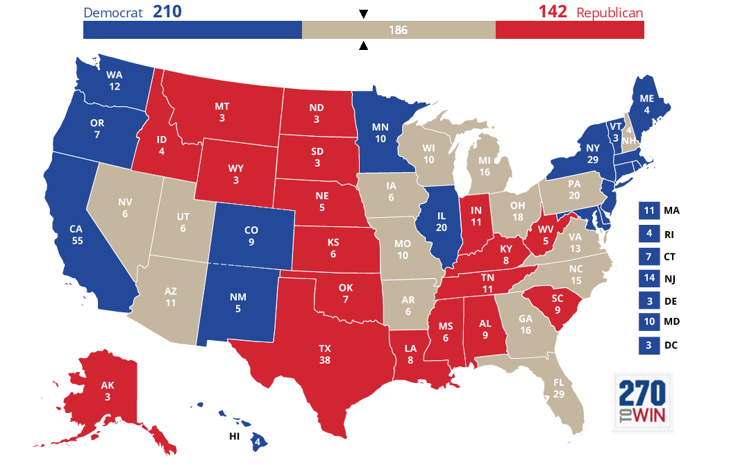 Optimistic Electoral Maps For Clinton HuffPost - 1988 us electoral map